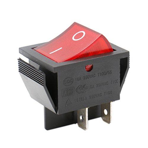 Heschen - Interruptor basculante DPST de encendido y apagado, 4terminales, luz roja, 16A, 250V CA, 2unidades