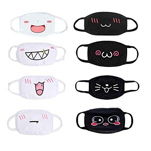 TOPEREUR 4/5/6/8/10 Stück Mundschutz Anime Cartoon Maske Unisex Baumwolle Anti-Staub Mode Kawaii süße mundschutz wiederverwendbare Emotionsmaske schwarz mit motiv