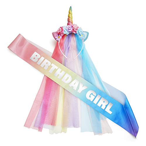 Rainbow Unicorn Birthday Decorations for Girls - Headband and Sash - Themed Costume Outfit for Bachelorette, Birthday - Colorful, Magical Unicorn Party Favors for Adults and Children