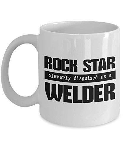 IconicPassion Welder Gifts - Taza de caf con diseo inteligente de estrella de rock disfrazada de soldador, 11 oz, color blanco