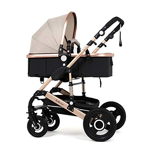 GWX Baby kinderwagen opvouwbare kinderwagen, 3-in-1 opvouwbare kinderwagen lichtgewicht draagbare kinderwagen, kan zitten leunend met schokabsorptie functie, voor baby
