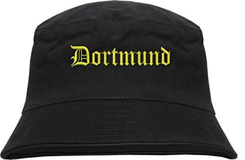 HB_Druck Dortmund Fischerhut - Bucket Hat - Gelb Bestickt - Schwarz S/M