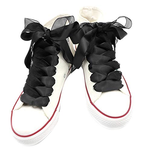 """Teeoff Satin Ribbon Shoelaces Double Layer Flat Shoe Laces for Sneakers 1 Pair Pack 20mm Wide (47.2"""", Black Black)"""