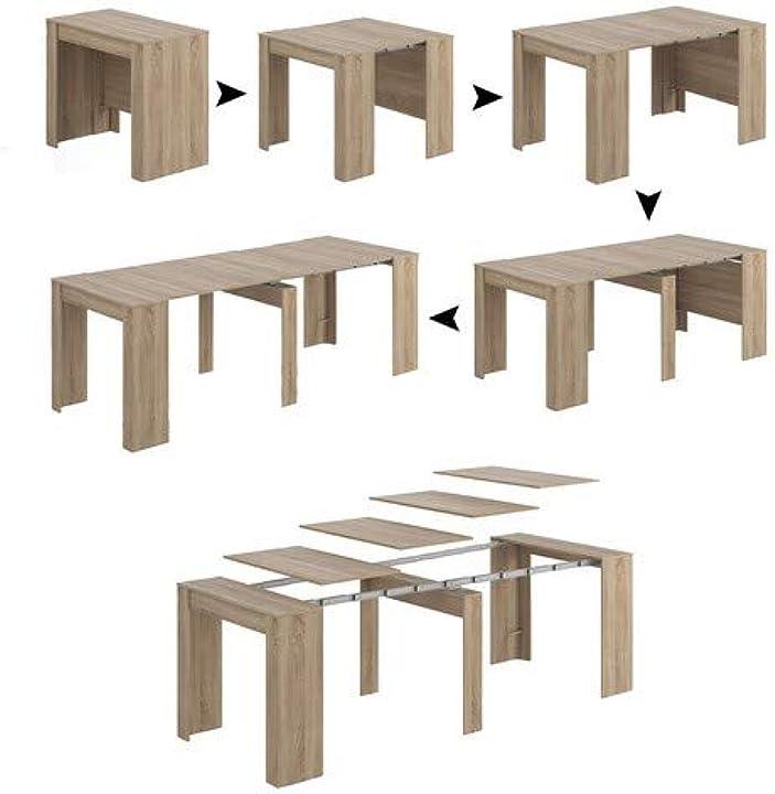 Tavolo allungabile consolle legno 235 cm, rovere, 4 allunghe, 90 x 50 x 78 cm esidra dmora B07GB7ZCQD