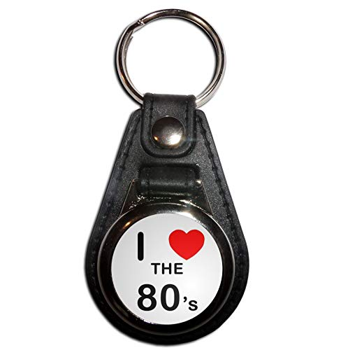 I Love the 80s Medallion Keyring, choice of colours