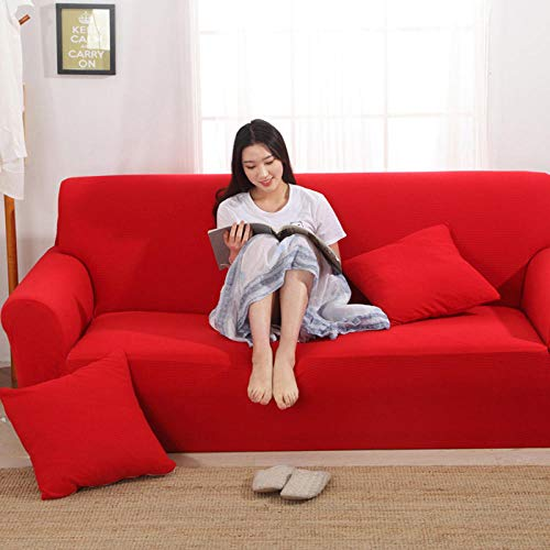 HXTSWGS elástica Funda de sofá,Funda elástica para sofá, Funda para sofá de Sala de Estar, Funda para Muebles elástica-China Red_145-185cm