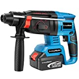 LcayMekl Rotary Hammer Drill, SDS-Plus 1/2 inch 21V Cordless Demolition Hammer with 1400RPM and Two 4.0Ah Batteries, Variable Speed, 3-in-1 Mode Brushless Impact Drill with Safety Clutch