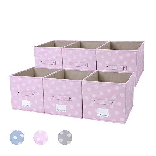 NA&CO SEASON Set of 6 Foldable Fabric Storage Box Containers Decorative Cube Baskets  Large Storage Boxes for Shelves Storage Boxes Closet Storage Boxes Cubic Storage BoxesPink Dot