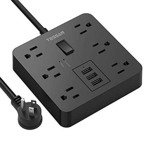 Power Strip with USB, TESSAN Desktop 5 Ft Extension Cord Flat Plug with 6 Widely Spaced Outlets, Built-in 1700J Surge Protector for Home and Office Accessories, Black