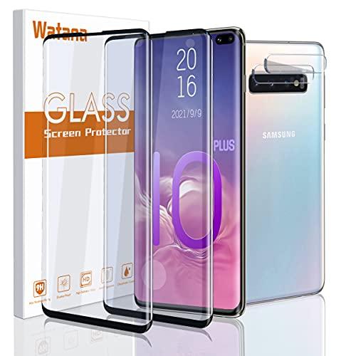 (4 Stück) Watana Samsung Galaxy S10 Plus Panzerglas Schutzfolie, inklusive Panzerglas Displayschutz (2 Stück) + Kameraobjektiv Schutzfolie (2 Stück) unterstützt Fingerabdrucksensor, keine Blasen
