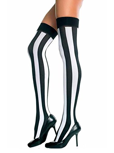 Black & White Vertical Stripe Thigh High Stockings