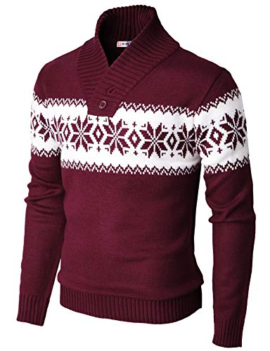 H2H Mens Casual Slim Fit Shawl Collar Pullover Ourside Sweater Wine US XL/Asia 2XL (KMOSWL0102)