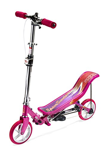 Space Scooter X580, Pink, Tretroller mit Schwungrad, per Luftdruckdämpfer Angetriebener Roller mit Bremsen, Luftfederung, Einfache Faltbarkeit, für Kinder ab 8 Jahren