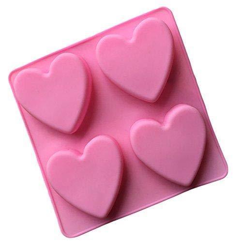 Depory 1 Stück Seifen Formen Silikon Material Gelee Formen Klassisches Liebes Herz Form Entwurf Cake Mold Praktisch Küchen Zubehör 15 * 15 * 2CM, Rosa Farbe