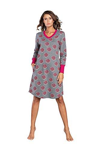Damen Nachthemd Nachtwäsche Nachtkleid Aus Baumwolle Rundhals Lässige Schlafhemd...
