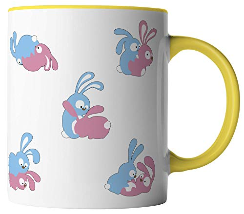 vanVerden Tasse - Hasen Kamasutra Sex Bunny - beidseitig Bedruckt - Geschenk Idee Kaffeetassen, Tassenfarbe:Weiß/Gelb