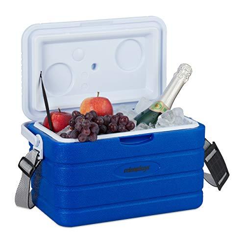 Relaxdays Kühlbox 10 l, Kühlkiste für unterwegs, Tragegurt & Griff, ohne Strom, Isolierbox HBT 22,5 x 37,5 x 23 cm, blau