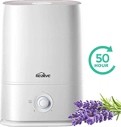 kealive Humidifier, 2020 Upgraded Large Room 5L Cool Mist Humidifier with Essential Oil Tray, Quick Mode Design Ultrasonic Humidifiers for Bedroom, Easy to Fill and Clean, Quiet Operation