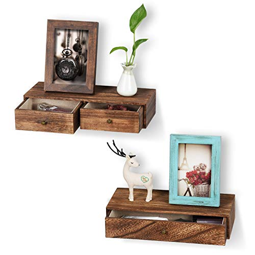 Emfogo Floating Shelf with Drawer Rustic Wood Wall Shelves for Storage and Display Multiuse as A...