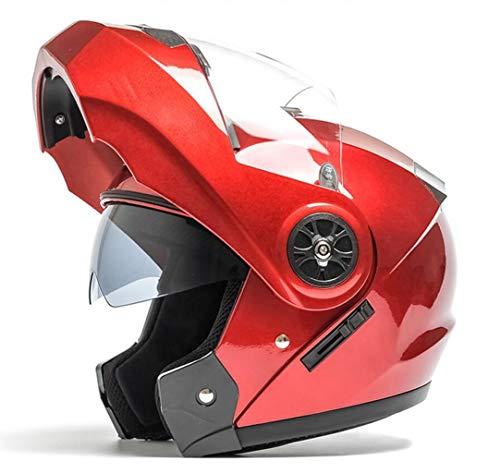 Yunyisujiao elektrische motorhelm heren en vrouwen vier seizoenen universele winter anti-fog helm Full Cover Full Face helm (kleur: rood 1, maat: 54 cm)