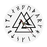 壁掛け時計 おしゃれ 連続秒針 置き時計 掛け時計 Valknut Odin Viking Symbol Runes Script Modern Norse Compass Vikings Rune Odins Simple Home Decor 耐久性丈夫 無騒音静音 防塵 インテリアおしゃれ 部屋装飾 プレゼント は部屋 教室 ベッドルーム バスルーム リビング オフィスに最適です