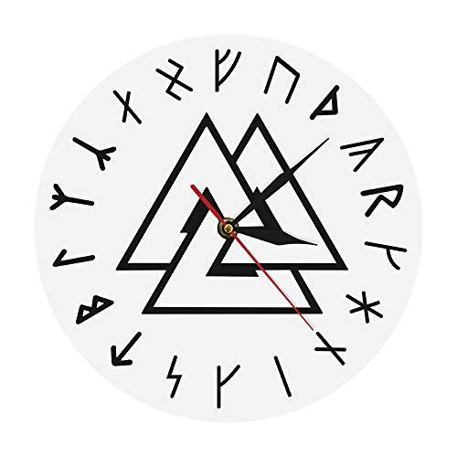 guijinpeng Símbolo Vikingo Runas Script Reloj de Pared Moderno Brújula nórdica vikinga Runa vikinga Reloj de Pared Simple de Odin Decoración para el hogar
