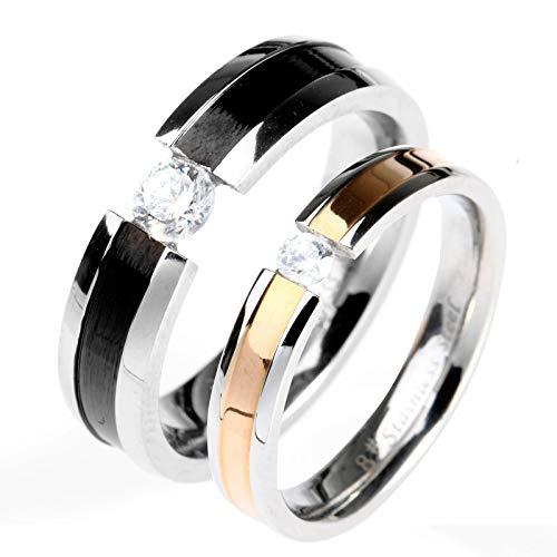 ROMQUEEN Joyas Anillo Mujer Bisuteria Anillos Compromiso Baratos Anillos de Diamantes Y...