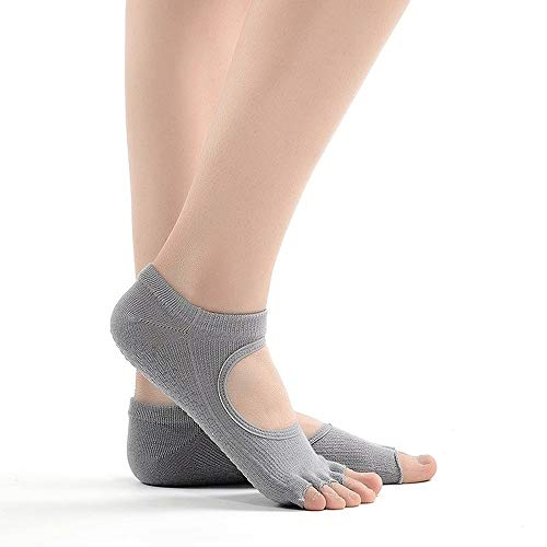 Wdonddonyjw Calcetines de Yoga Yoga Deportes Calcetines Anti Slip for Lady Gym Fitness Pilates Profesional del calcetín del calcetín (Color : Gray)