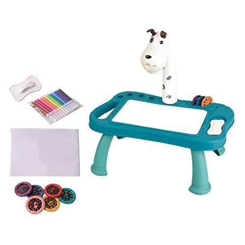 Niños Proyector Pintura Tablero de dibujo Escritorio, Juego de mesa de aprendizaje para niños, Proyector inteligente Proyección de escritorio de dibujo, Tablero de dibujo Juego de mesa de pintura para