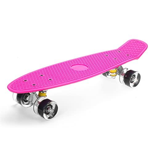 NC liupan112. 22 Zoll Fischbrett Allrad Mini Cruiser Skateboard Kinder Scooter Skateboard Kinderbrett LED Blinkrad Skateboard (Color : Pink(18.5 * 23.5 * 5cm))