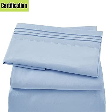 Bed Sheet Set - Brushed Microfiber 1800 Bedding 4 Piece 105 GSM -Wrinkle, Fade, Stain Resistant ,Hypoallergenic (Light Blue, Queen)