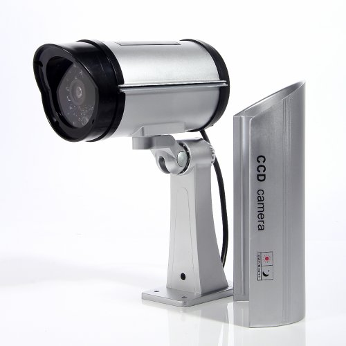 Masione Simulated Surveillance Cameras - New Wireless IP Camera Security Surveillance fake Dummy IR LED cameras - Night/Day Vision Look Bullet CCD CCTV Imitation Dummy Camera - Weatherproof bullet housing, multiple Flashing Blinking Red infrared LEDs, Indoors or Outdoors,Home or Depot!(Silver)