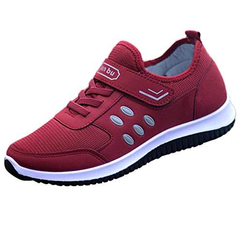 ZIYOU Sneaker Damen Licht Sportschuhe Outdoorsandalen Mesh Volltonfarbe Atmungsaktive Laufen Schuhe Turnschuhe(Rot,37 EU)