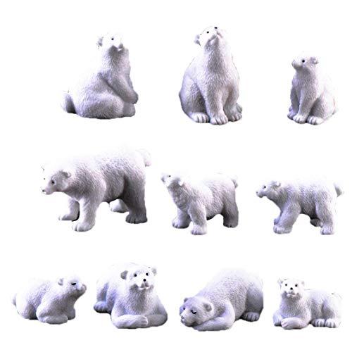 OMMO LEBEINDR Oso Polar Musgo Microlandscape Jardín De Resina Miniatura del Oso Polar 10pcs Figurines De Alimentación Conveniente