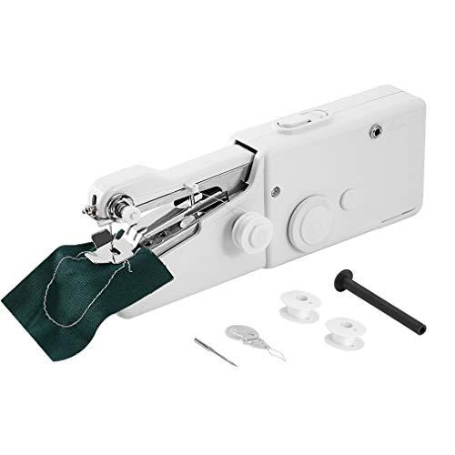 QIUXIANG Máquina de Coser Portátil de Mano Máquina de Coser eléctrica con Pilas Costura de la Herramienta Easy Stitch Ropa for el Viaje Uso en el hogar