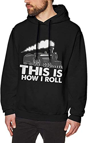 Yougou This is How I Roll Train Mens Fashion Athletic Sport Pullover Solid Hoodies Lightweight Sweatshirt