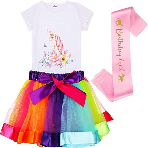 Poen Ragazze Tulle Tutu a Strati Set Include Arcobaleno Tutu Gonna Unicorno T-Shirt e Fascia di Raso (XL Taglia)