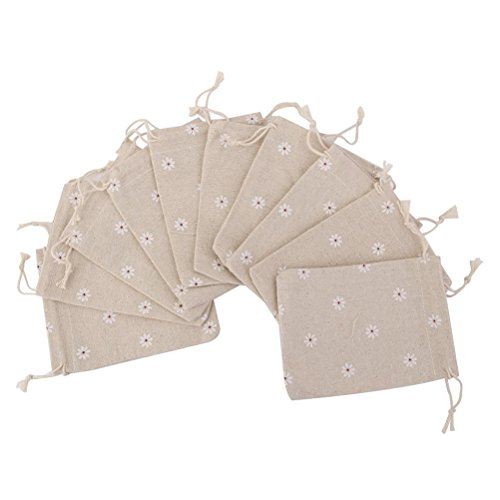 Tinksky 10pcs Natural Linen Jute Burlap Small Simple Sack Pouch Drawstring Gift Bag Daisy Flower Jewery Bag Wedding Favors