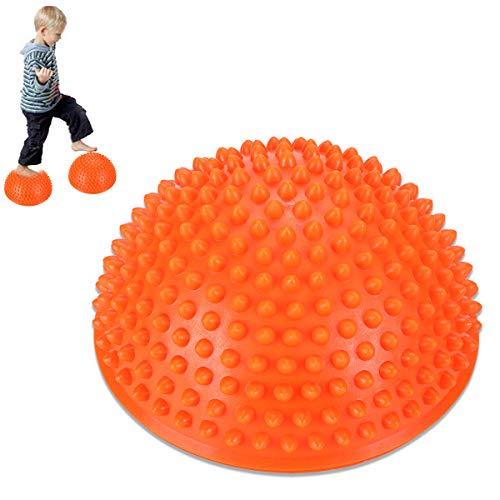 MT-Sport 半球 バランスボール 2個セット 大人から子供まで フット ヘルス ボール ミスター アルマジロ バランス トレーニング 【空気入れおまけ付】 (Orange)