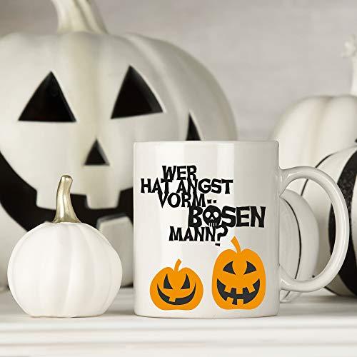 Tasse Becher Halloween Kürbisse Wer hat Angst vorm bösen Mann?