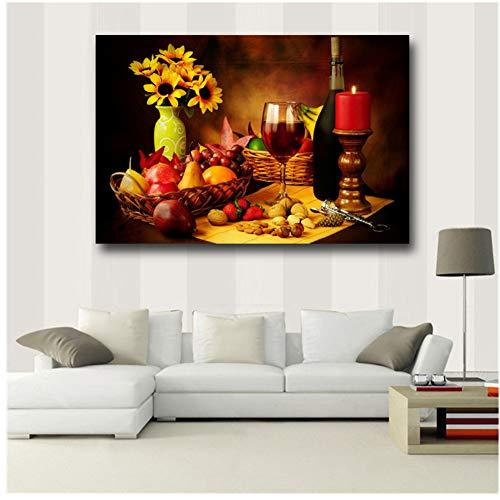 nr Farbe Wandkunst Malerei Rotwein In Becher Nüsse Erdbeer Korkenzieher Gelbe Blumen Bilder Drucke Auf Leinwand20x28 IN Kein Rahmen