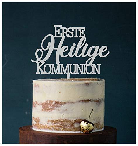 Manschin-Laserdesign Cake Topper Erste Heilige Kommunion,Tortenstecker, Tortenfigur Acryl, Hochzeit Wedding Hochzeitstorte (Grau) Art.Nr. 5149