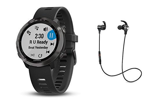 Garmin GPS-Performance Laufuhr Forerunner 645M Schwarz/Dunkelgrau/Schiefer inkl. Musik Funktion und Bluetooth Headset