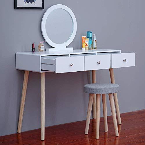 Cajón de la cómoda moderna Tocador con combo de maquillaje tocador,3 Drawers 2
