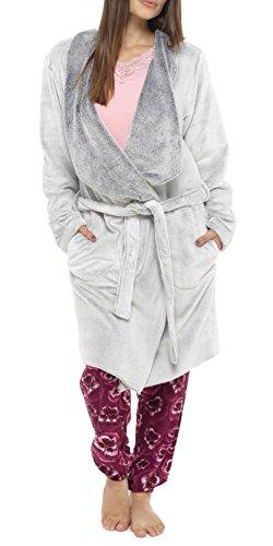 I-Smalls Robe Avant Drapée Femme en Tissu en Peluche (48-50) Gris