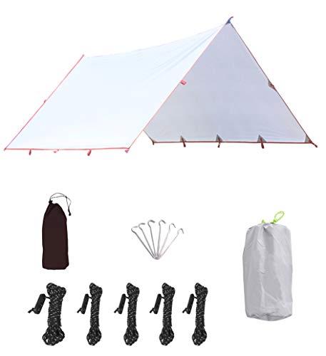 HIKEMAN Campingzelt-Plane, leicht, wasserdicht, Winddicht, PU3000 mm, UV-Schutz, mit 6 Aluminiumpfosten, 5 Seilen und Tragetasche für Schnee, Sonnenschutz für Camping, Outdoor, grau, 3x3.2m