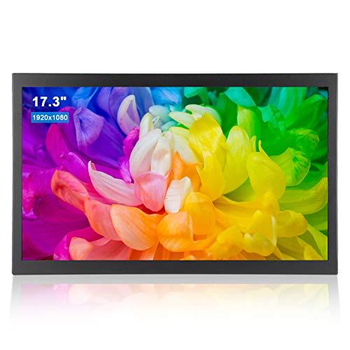 17.3 Pulgadas Monitor Industrial Totalmente Metálico Integrado,All-HD 16: 9 Pantalla Táctil Universal,Soporte HDMI VGA AV USB,1920x1080 160° Pantalla Táctil de Resistencion TFT para PC, CCTV(EU)