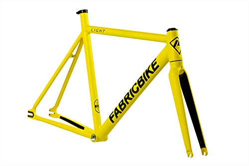 FabricBike Light - Telaio per Biciclette Fixie, Fixed Gear, Single Speed, Telaio e Forcella in Alluminio, 5 Colori, 2.45 g (Taglia M) (Light Matte Yellow, M-54cm)