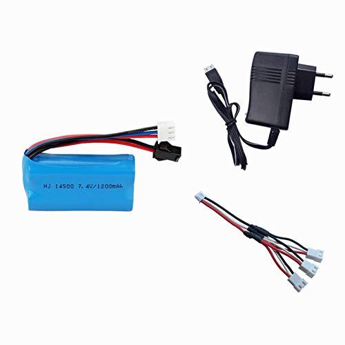 Juego de Cargador de batería de Iones de Litio de 7.4V 1200mAh para Accesorios de Juguetes eléctricos Batería de 7.4V para vehículos de Juguete RC Blue