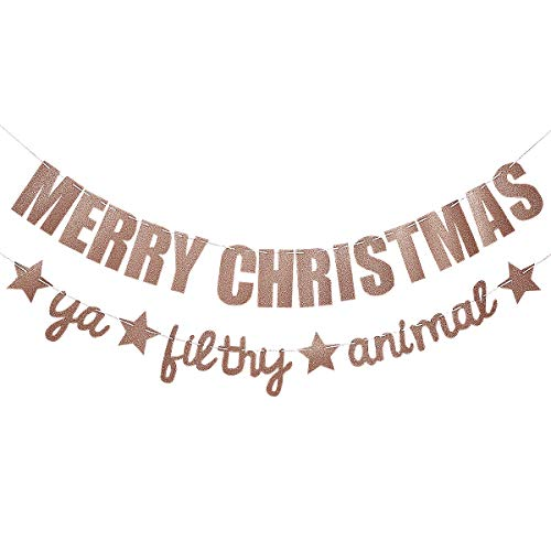Rose Gold Glittery Merry Christmas Ya Filthy Animal Banner- Christmas Party Decorations, Christmas Garland, Grinch Christmas Decorations, Christmas Decorations for Home Office Mantel